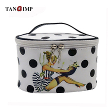 TANGIMP 2017 Professional Cosmetic Case Hand-held Portable PU Pin-up Beauty & Dog Printed Women Makeup Organizer with Mirror