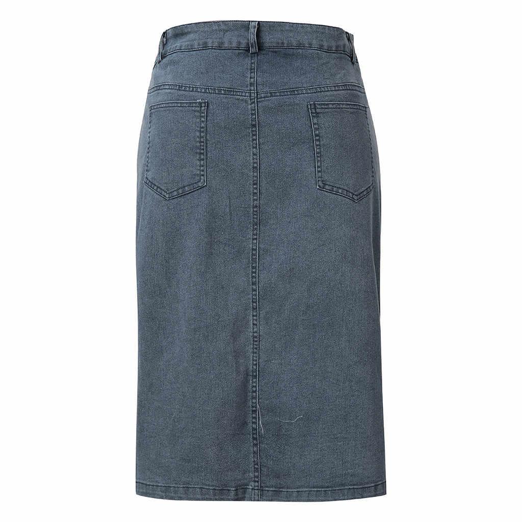 Casual Women Denim spódnica ołówkowa przednia kieszeń na guzik Split do kolan spódniczki dżinsowe dopasowany Hip spódnica letnia Jupe Plus rozmiar