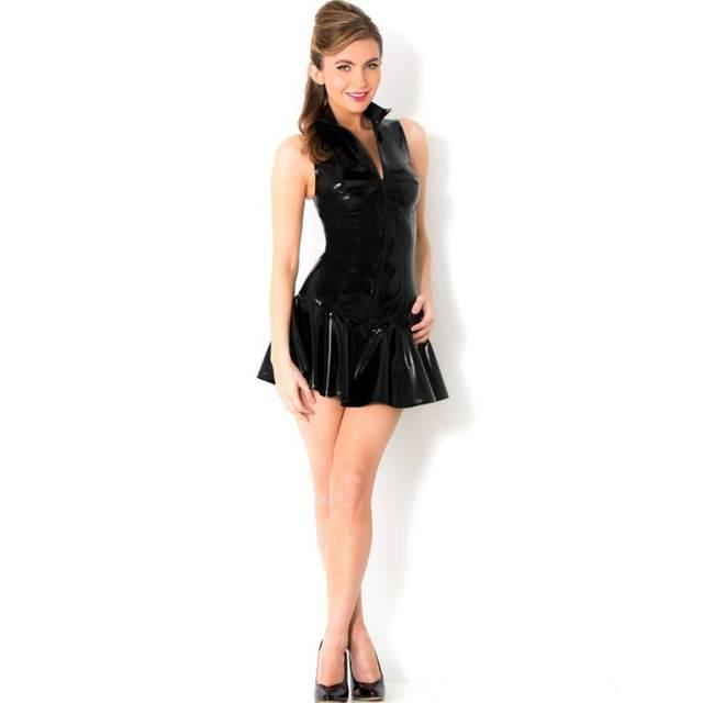 New Arrival High Quality Woman Dress Super Y Black Pvc Leather Like Short