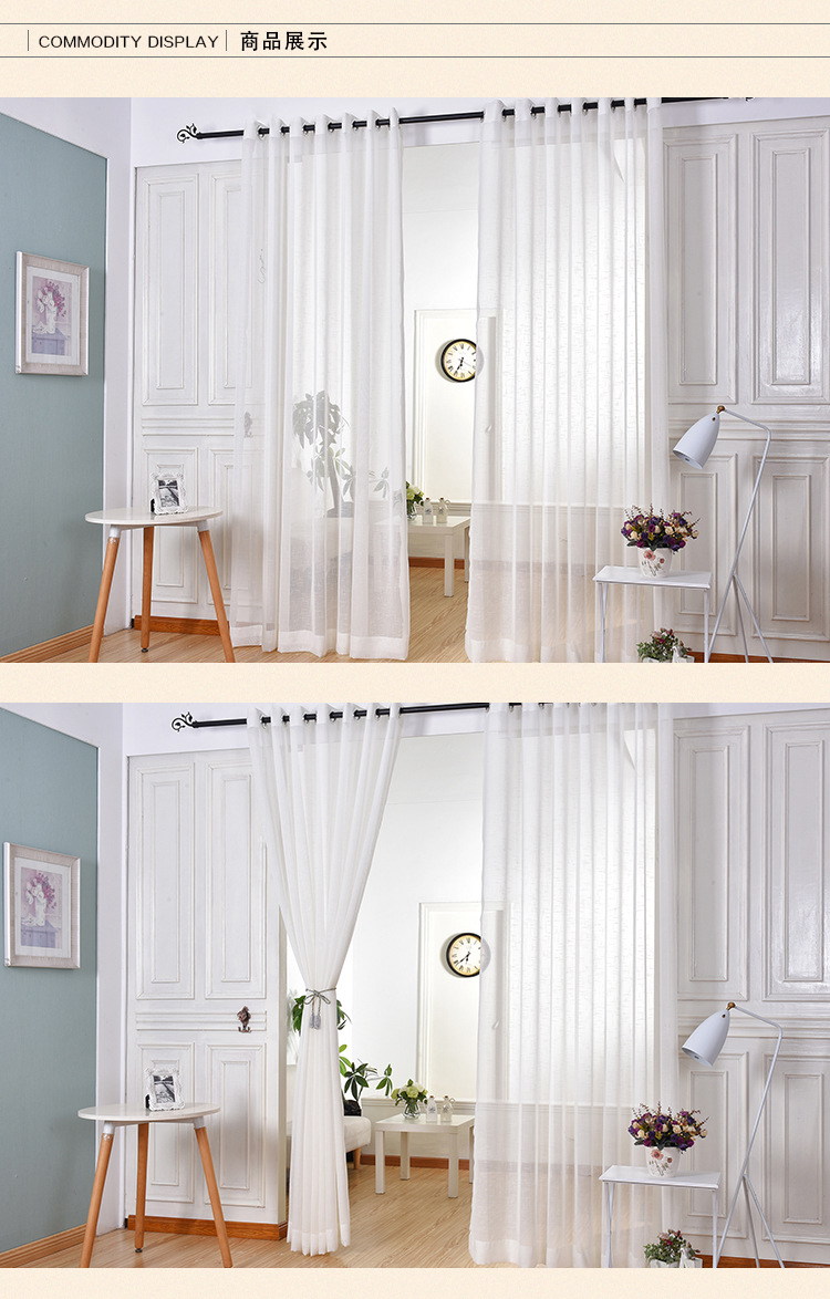 Elegant White Window Curtains sheer voile for Living Room Bedroom ...