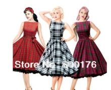 Free Shipping Retro Swing Tartan Dress 3 Colours Vintage 50s Rockabilly Party Pin Up Dress