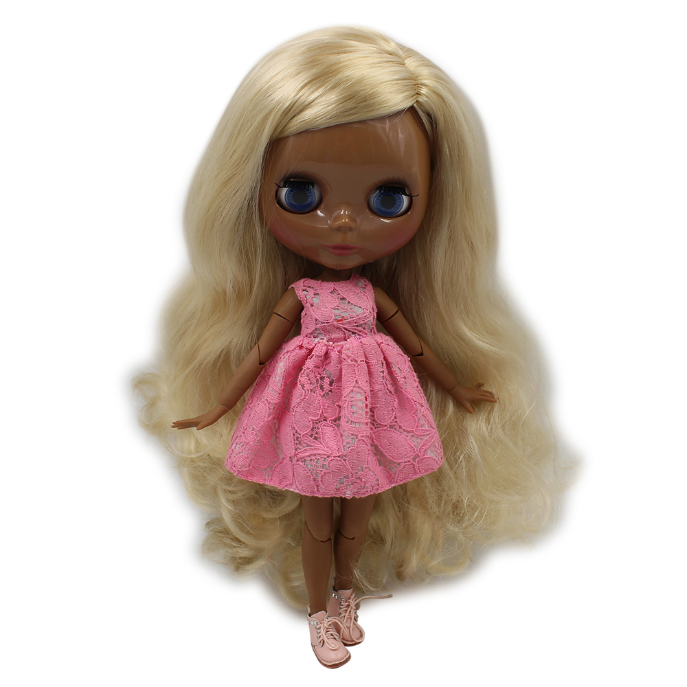 Dark skin tone Blyth doll nude SUPER BLACK blond curly hair side parting JOINT Azone body