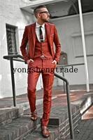 Individualized Red Suit Customized Suit Slim Fit Men Suit It Perfect Everyday Suit (Jacket+Pants +Vest) HS8008