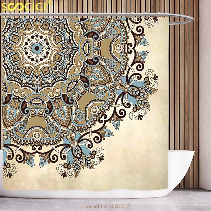 Decorative Shower Curtain Mandala Ethnic Indian Flower Circle on Lace Ornaments Traditional Boho Design Cream Cocoa Light Blue