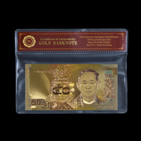 WR Promotional Gift Gold Banknote Thailand 1000 Baht Hot Sale Souvenir Banknote Paper Money Collection Original Size