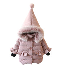 Фотография 29KEIZ Winter Thicken Children Outwear Coat Solid Color Full Sleeve Hooded Cotton Padded Jacket for Girls Baby Kids Apparel