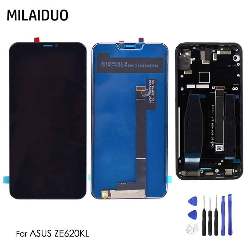 LCD Display For Asus Zenfone 5 2018 Gamme ZE620KL Touch Screen Digitizer Assembly Replacement Parts Black with Frame+ToolsLCD Display For Asus Zenfone 5 2018 Gamme ZE620KL Touch Screen Digitizer Assembly Replacement Parts Black with Frame+Tools
