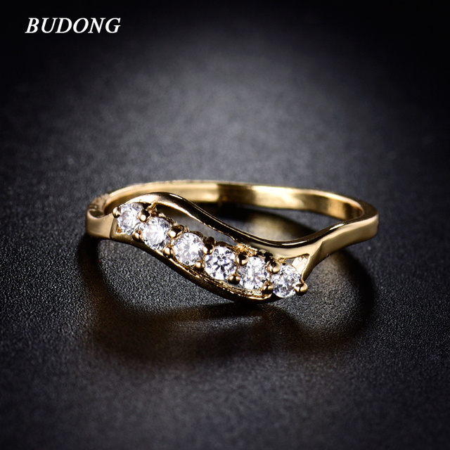 BUDONG Fashion Engagement Rings for Women 2017 Gold-Color Rings Brand Austrian Crystal Zirconia Jewelry Rings with Stones R159