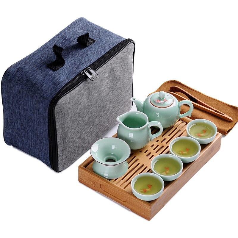 Outdoor Tea Tray Tea Set Bags Portable Travel Chinese Ceramic Teapot Cups Sets China Kung Fu Tea Set Boutique Tea Gift Fast Post
