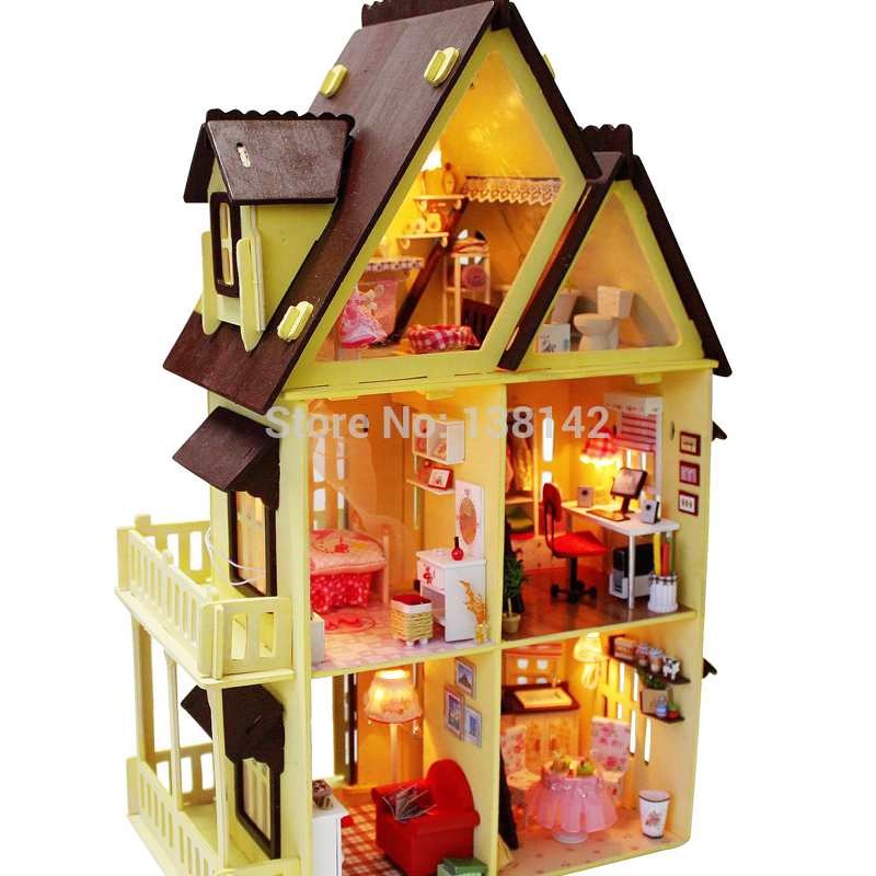 ФОТО 13809 Diy Doll House With Furniture Handmade Model Building Kits 3D villa Miniature Wooden Dollhouse Toy Gifts free shipping