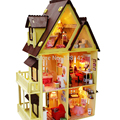 13809 Diy Doll House With Furniture Handmade Model Building Kits 3D villa Miniature Wooden Dollhouse Toy Gifts free shipping