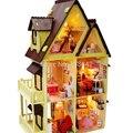 13809 Diy Doll House com móveis artesanais modelo Kits de construção 3D villa miniatura casa de bonecas de madeira presentes brinquedos frete grátis