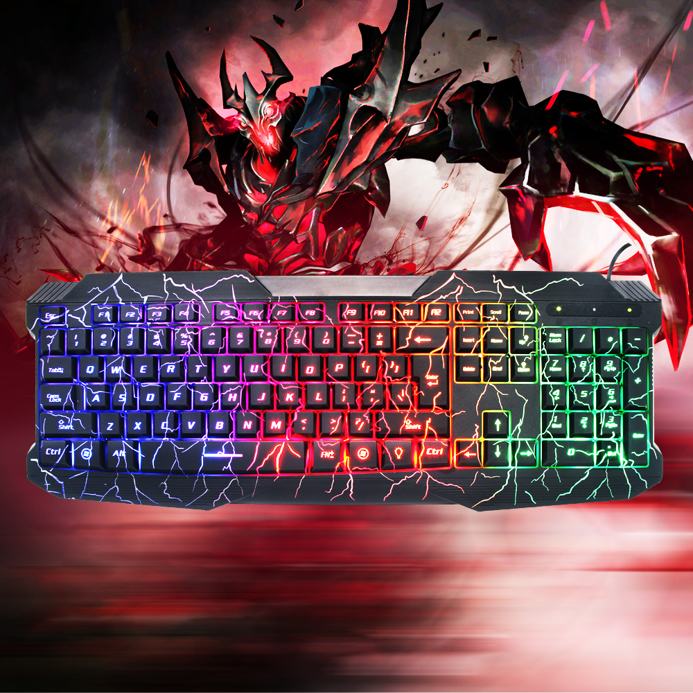 Cool Unique Wired USB Crack Colorful Gaming Computer Lighted Keyboard for WOW LOL CF Gamer Gifts