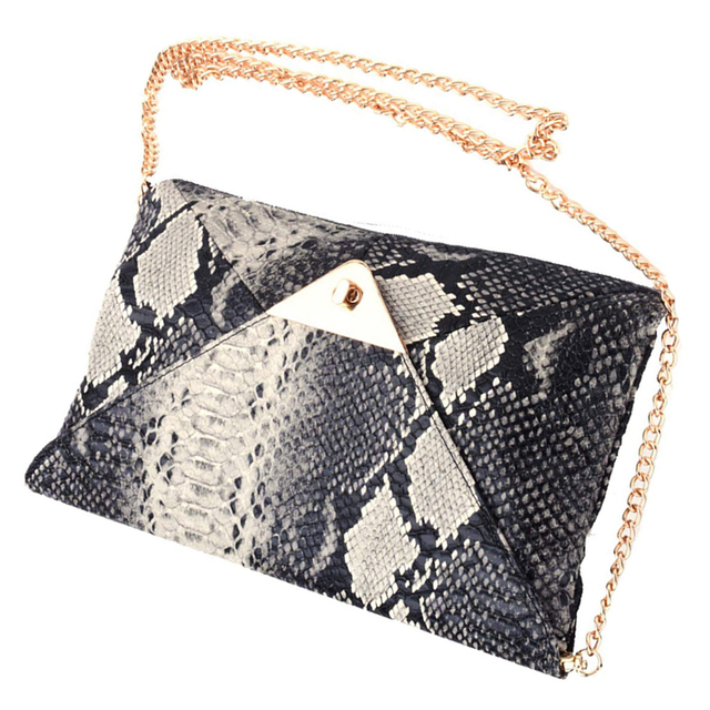 Women's Snake skin Envelope Clutch Bag 1