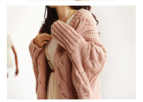 Autumn Winter Knitted Cardigans Coat Women  Fashion Long Sleeve Bat Poncho Sweater Beautiful Womans Cardigan