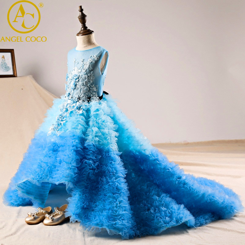 Children Evening Gown Blue Trailing Sleeveless Crew Neck Dress Girl Piano Performance New Year Wedding Birthday Party Dress 2018 lole шорты lsw0898 lively short xs evening blue