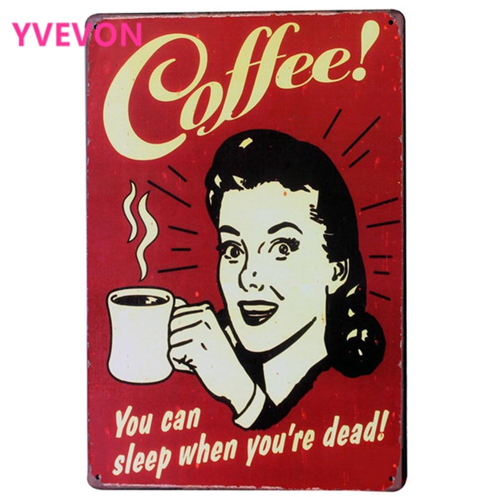 """טרי מבושל קפה פח מתכת הירשם קפה דקורט פלאק קפה פלייט ליידי גביע דף הבית חנות ציור קיר 20x30 ס""""מ"""
