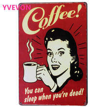 Fresh Brewed COFFEE Metal Tin Sign Coffee Decor Plaque lady with cup Home shop wall art painting SPM9-1 20x30cm A2
