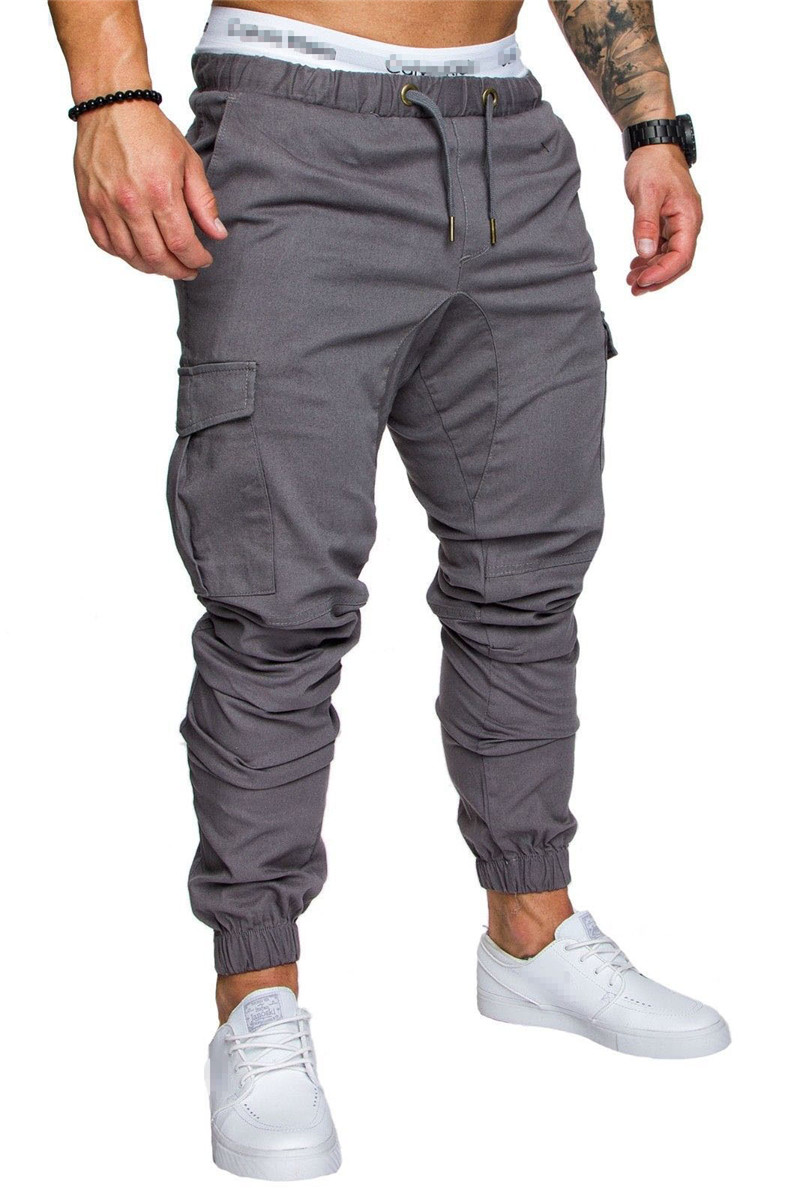 IceLion 2019 New Fashion Pants Men Solid Elasticity Men's Casual Trousers Mens Joggers Drawstring Multi-pocket Pants Sweatpants 19