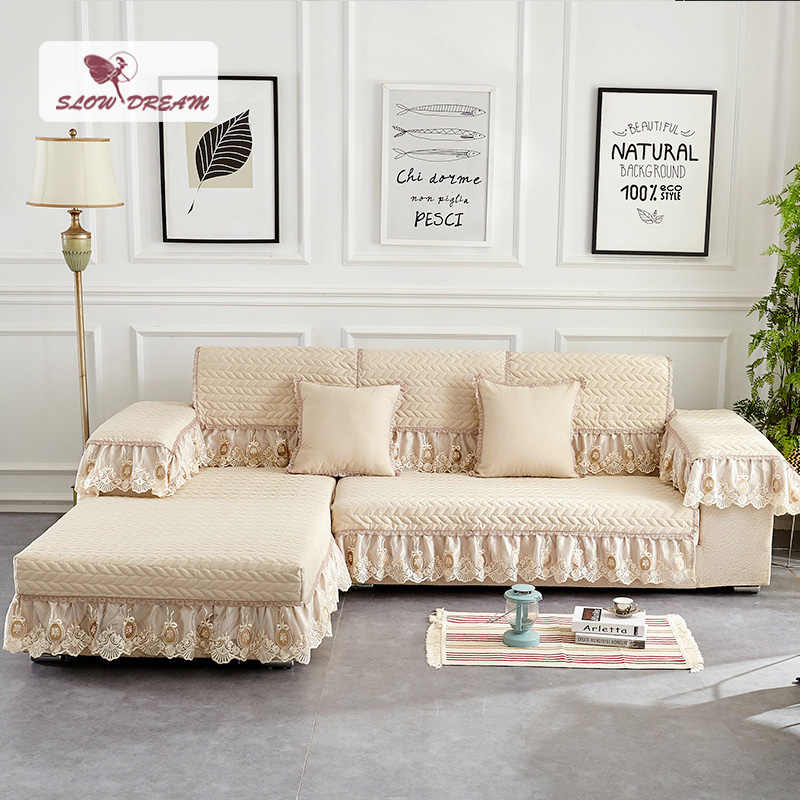 Slowdream European Fabric Anti-slip Lace Prevent Dirty Sofa Cover Style Cushion Cover 4 Colors Various Sizes Nordic Sofa Cushion