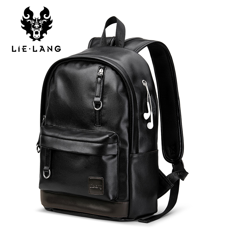 LIELANG New Leather Backpack Men Laptop Backpacks External Usb Charge Antitheft Backpack For Men Male Waterproof Bag Rucksack lielang men pu leather backpack waterproof large capacity 14 inch laptop bag usb charge camouflage backpack bag mochila rucksack