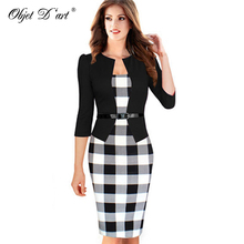 New Three Quarter Sleeve Women Dress Tartan Patchwork Tunic Dress Work Business Plaid Bodycon Pencil Sheath