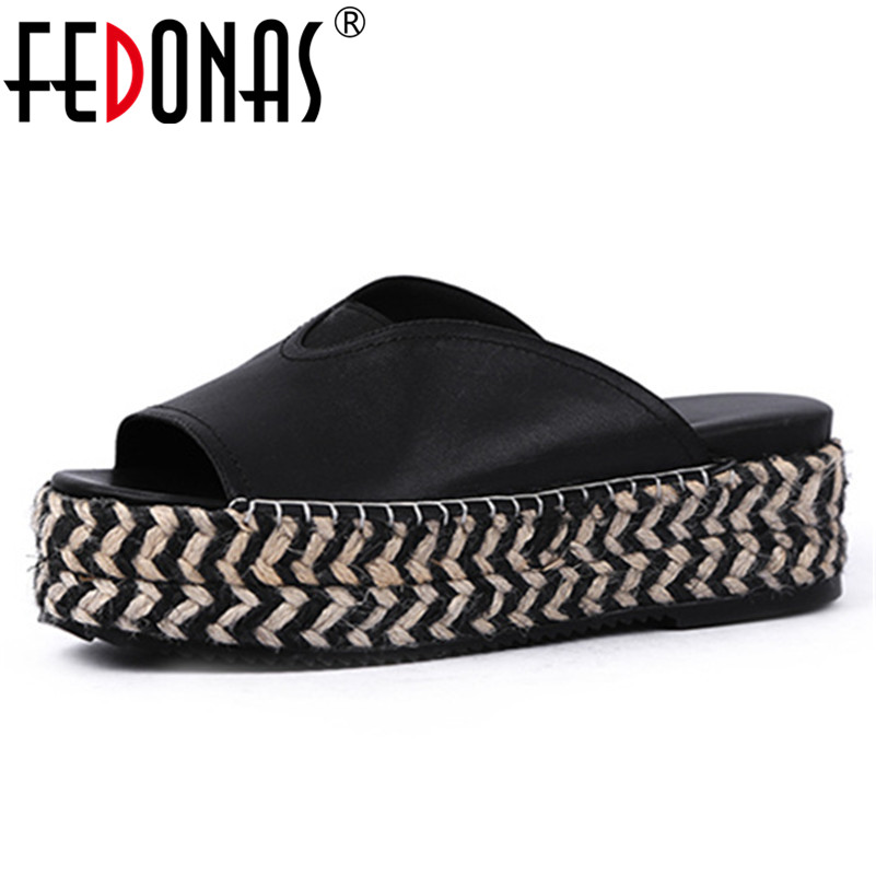 FEDONAS Fashion Solid Women Sandals 2019 New Summer Genuine Leather women Flats Slippers Casual Shoes Woman