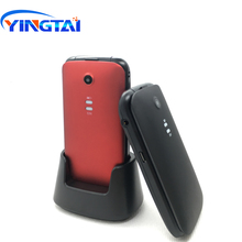 2018 Yingtai T21 3G MTK6276 Flip Senior Telefoon Big Toetsenbord/Sos Knoppen 800 Mah 2.4 Inch Met Desktop charger Clamshell Mobiel