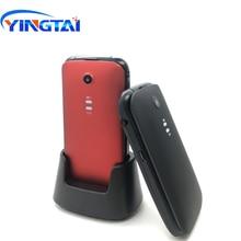 2018 yingtai t21 3g mtk6276 aleta telefone sênior grande teclado/sos botões 800 mah 2.4 polegadas com carregador de mesa clamshell celular