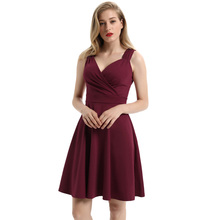 2019 New Ladies Fashion Casual Loose Solid Color Sleeveless V-Neck Flared A-Line Party Dress women s chic sleeveless solid color v neck a line dress