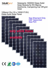 Sea Shipment Only, Solarparts 100x 100W monocrystalline solar module efficiency solar panel cell system 12V DIY kit RV off-grid.