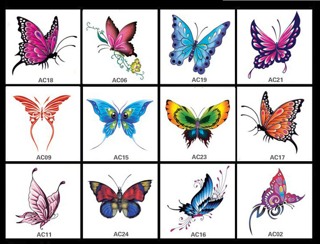 d78ba1154 12pcs/lot waterproof tattoo sticker set women small single color butterfly  tattoo stickers