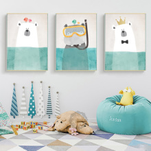 Animal Cartoon Modern Northern Europe Sitting Room Canvas Painting Decorates Picture Of Children To Hang
