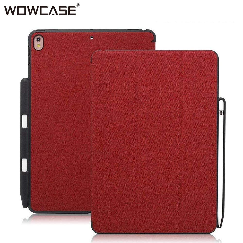 WOWCASE Rouge Porte-Crayon Cas Pour iPad Pro 12.9 Cas De Mode En Cuir Flip Intelligent Sommeil Auto Wake-up Retour couverture Protecteur Coque