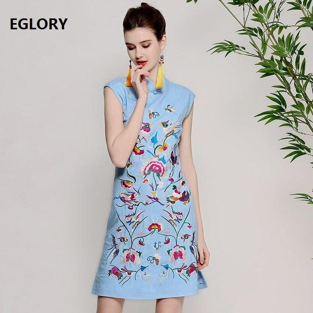 eea3f9540 Vestido de Lino de algodón de Alta Calidad Mujeres Lurex Bordado Floral Sin  Mangas A-