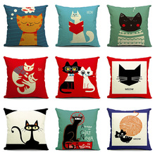 Funny Cat Style Printed Cotton Linen Pillowcase Decorative Pillows Cushion Use For Home Sofa Car Office Almofadas Cojines