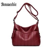 Bonsacchic Soft PU Leather Bag Women Messenger Hobo Bag Purse Red Small Handbag Ladies Shoulder Crossbody