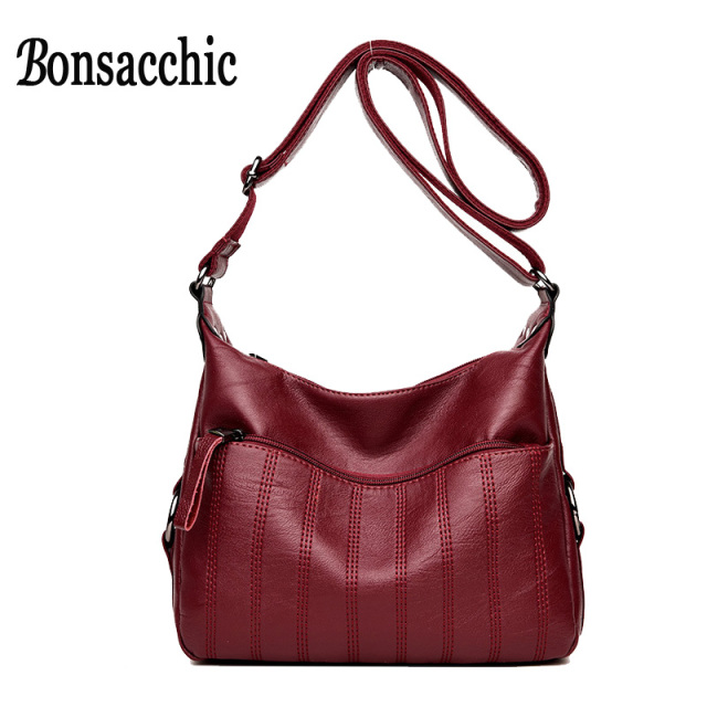 Bonsacchic Soft Pu Leather Bag Women Messenger Hobo Purse Red Small Handbag Las Shoulder Crossbody