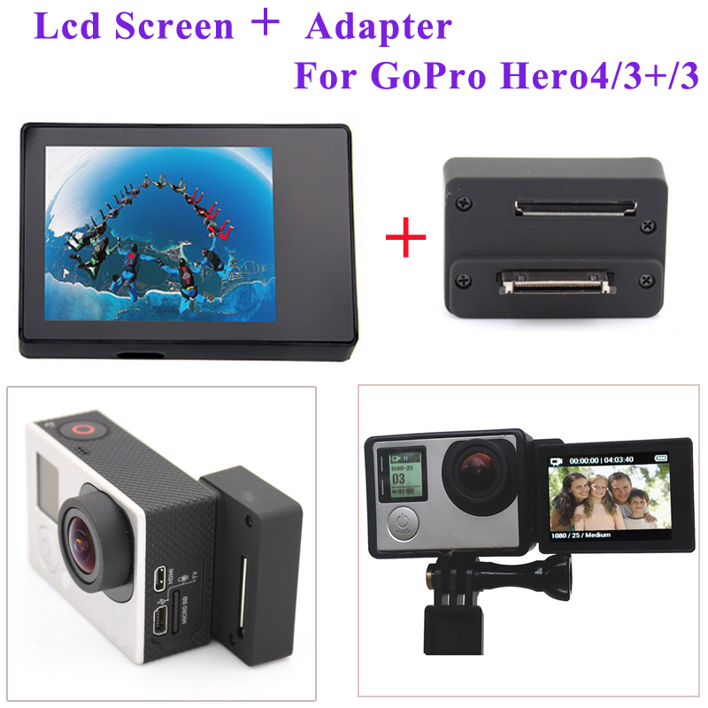 Accessories For GoPro Hero 4 3+ 3 Self-timer connector Adapter Box +BacPac Display lcd Screen For GoPro Camera Accessories ri 008 activity connection chain accessories for gopro hero 4 3 3