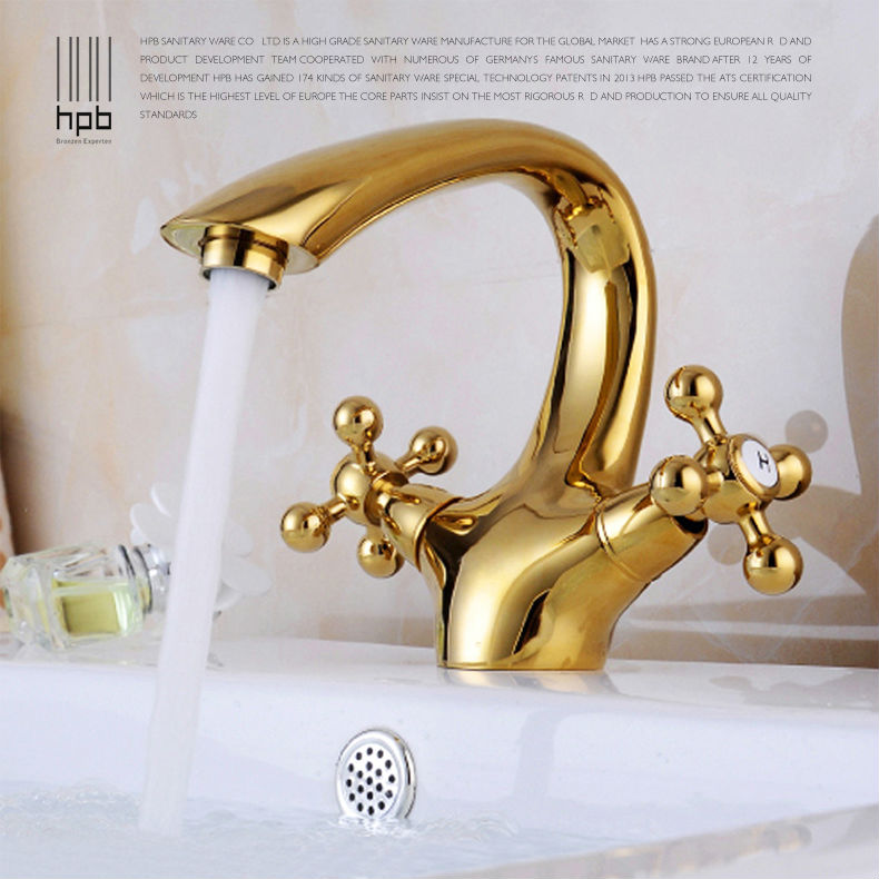 HPB Solid Brass golden Bathroom Basin Faucet Single Hole Double Handle Hot and Cold Water Mixer Tap torneira HP8005 hpb pull out bathroom faucet brass sink basin mixer tap cold hot water chrome single hole handle fashion design quality hp3030