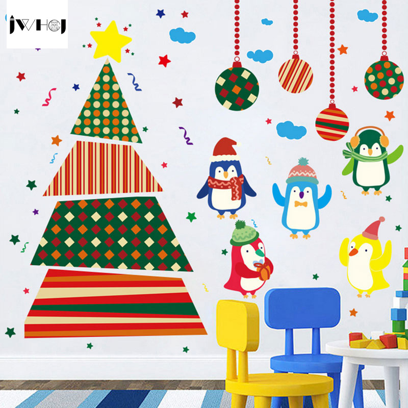 jwhcj 60x90 cm cartoon christmas tree penguins wal