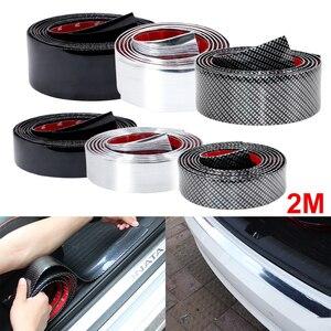 Image 1 - 2M Auto Aufkleber Tür Rand Schutz Protector Carbon Faser Film Rubber Moulding Trim Streifen DIY 3 Farben Für Auto styling Zubehör