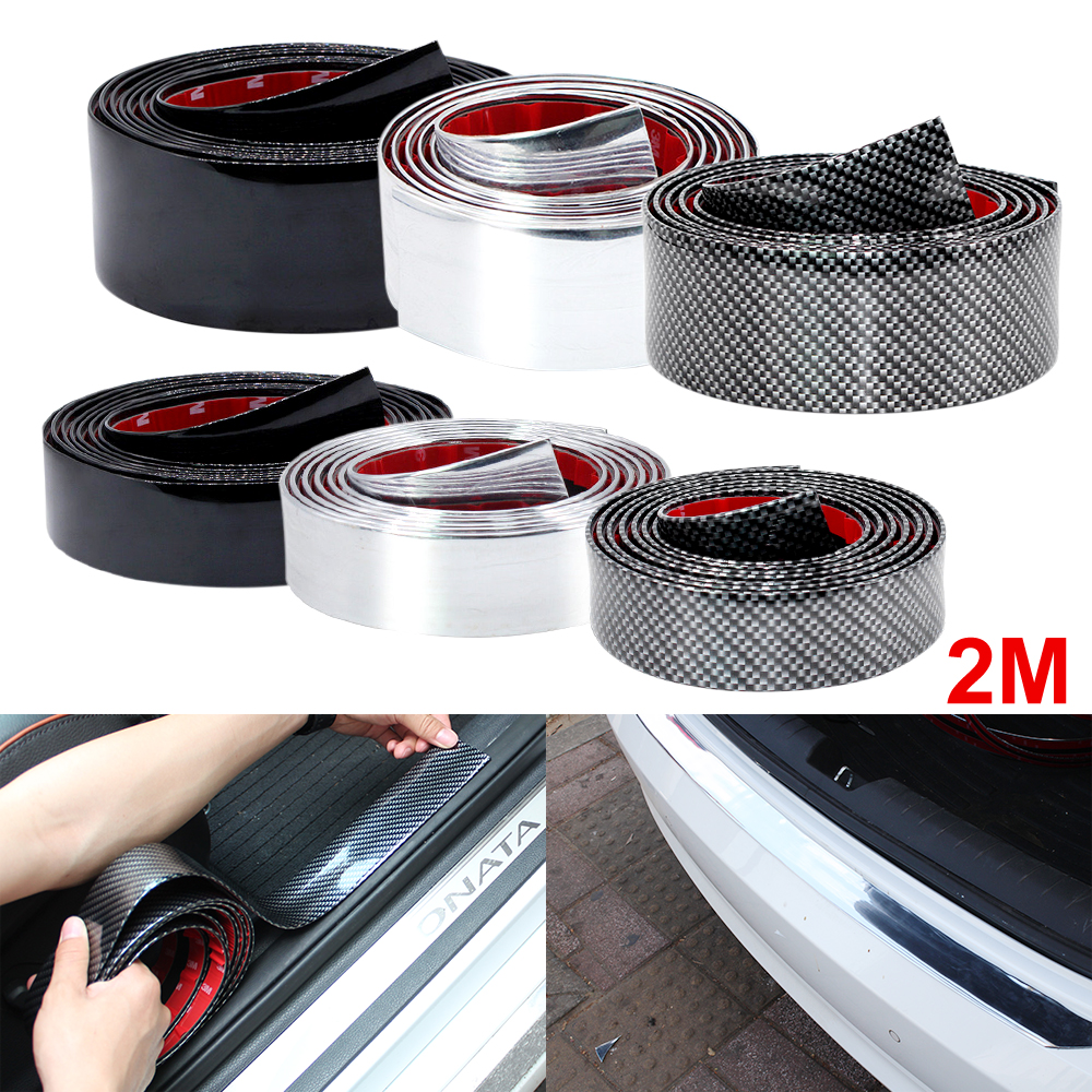 Image 1 - 2M Car Stickers Door Edge Guard Protector Carbon Fiber Film Rubber Moulding Trim Strip DIY 3 Colors For Car Styling Accessories-in Car Stickers from Automobiles & Motorcycles