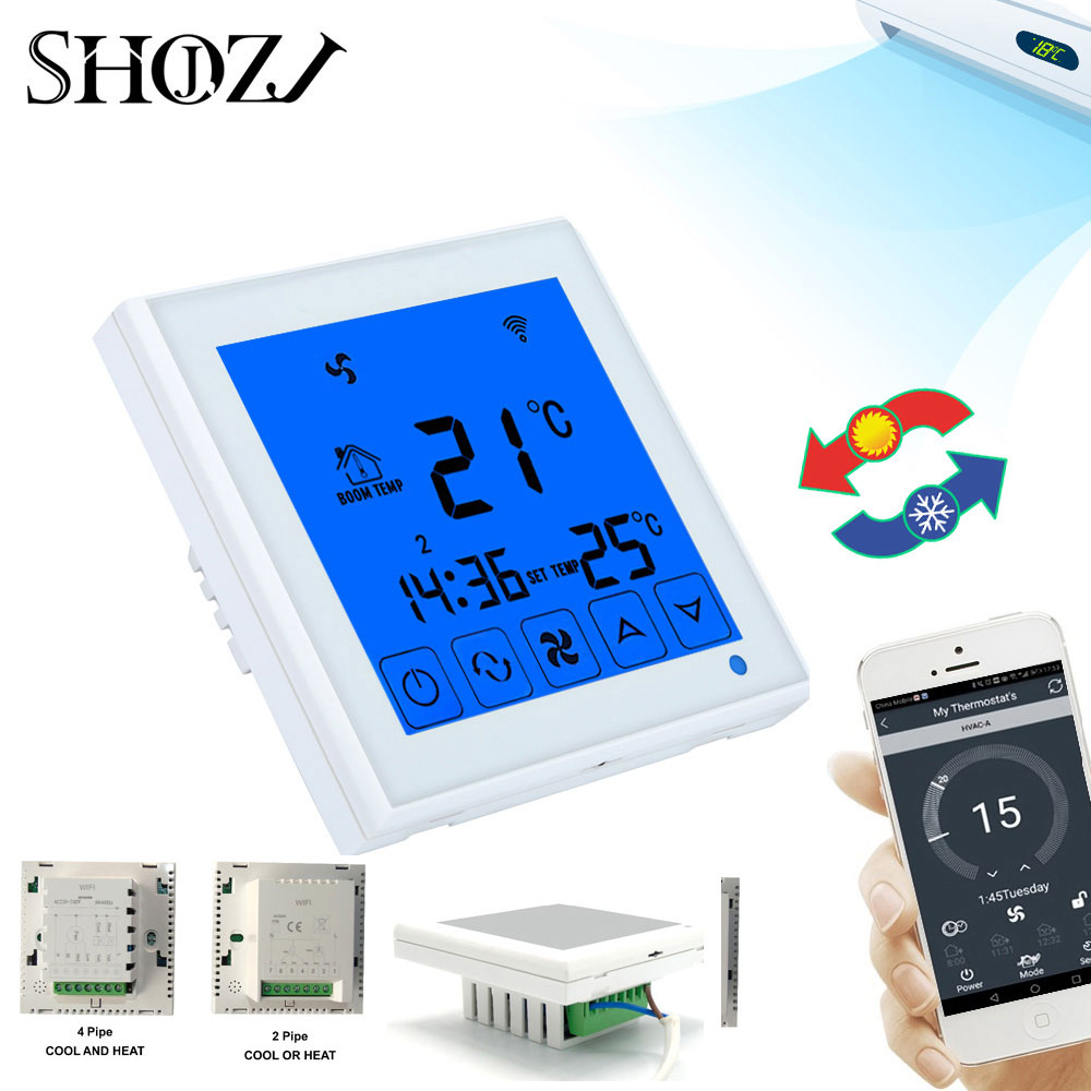 WiFi Smart Thermostat 2p 4p Central Air Conditioner Cooling Heating For Fan Coil Unit Room Temperature Controller SMART HOUESE