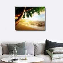 Laeacco Tropical Beach Palm Tree Sunrise Wall Art Posters and Prints Canvas Painting Living Room Decoration Home Decor modern seaside sunrise palm tree beach wall art posters and prints canvas paintings on the wall home decoration