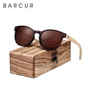 Image 5 - BARCUR Vintage Round Sunglasses Bamboo Temples Polarized Wood Sun glasses Men Women Shades oculos