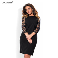 2017 Women Fashion Plus Size Elegant Lace Dress Autumn O Neck Big Size Office Dress Casual