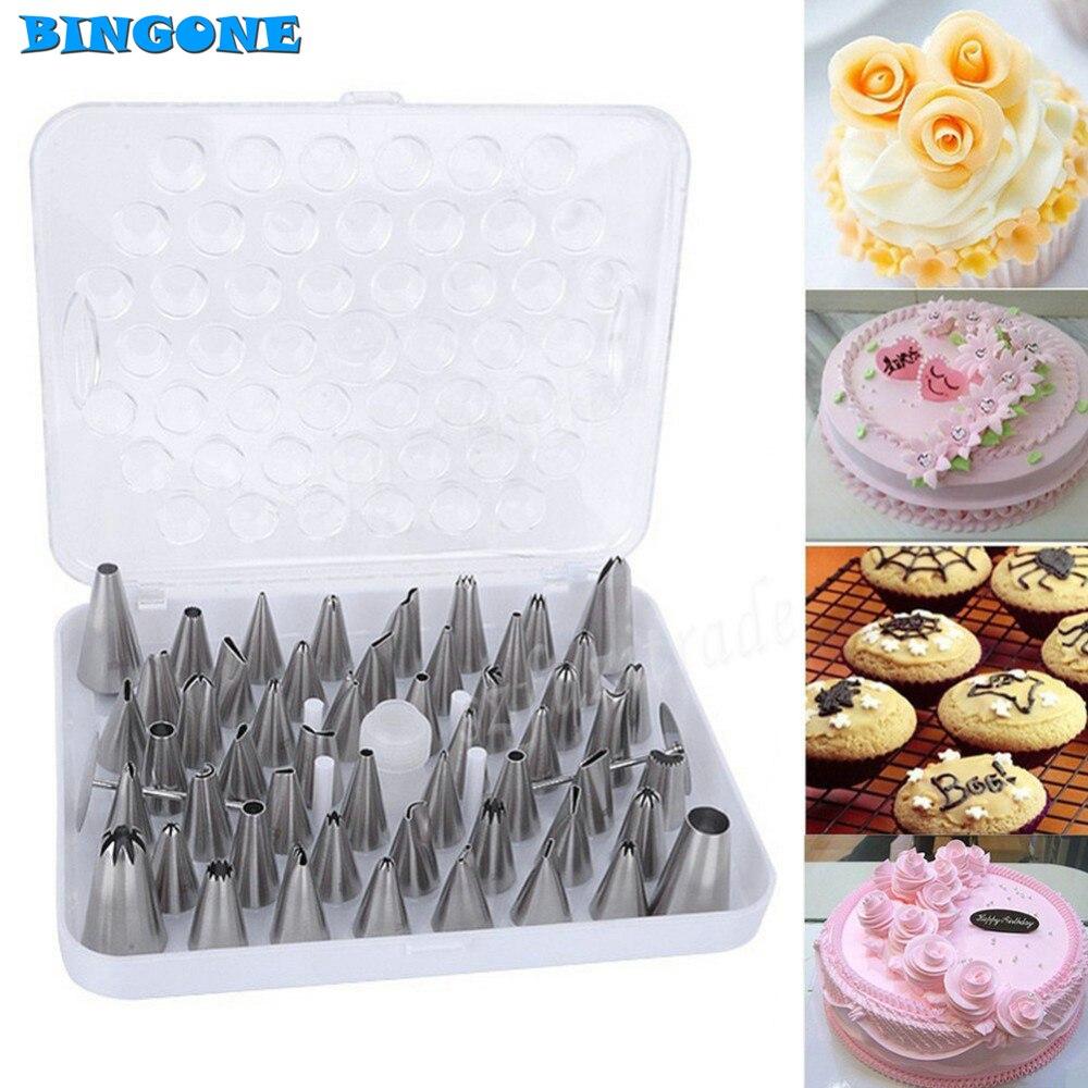 Large Cake Decorating Nozzles : Bingone 52PCS Stainless Steel New ( ^ ^)? Large Large ...