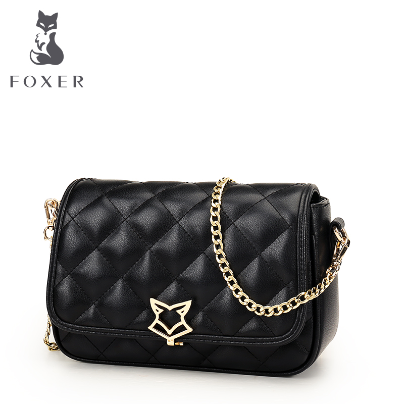 FOXER Brand Women Leather Bag Simple Cowhide Shoulder Bag Small Square Package Lingge Chain Messenger Bag & Crossbody Bags vintage women genuine leather handbags women shoulder bag large capacity casual tote bag female messenger bags bolsa feminina