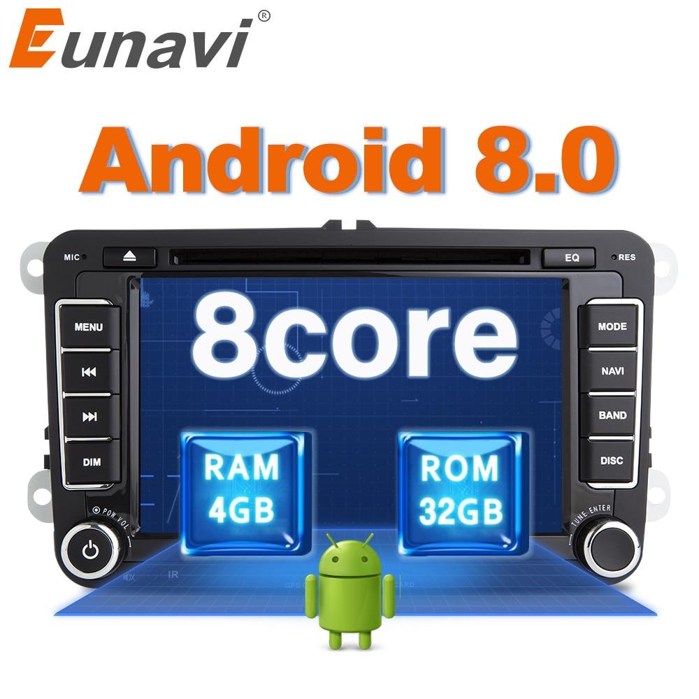 Eunavi Octa 8 Core Android 8.0 2 Din Car dvd player Per VW GOLF JETTA POLO TOURAM PASSAT B6 GPS navi Radio Stereo USB WIFI DAB +